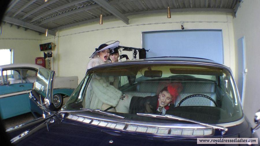 Lesbians fuck in classic cars Part 4